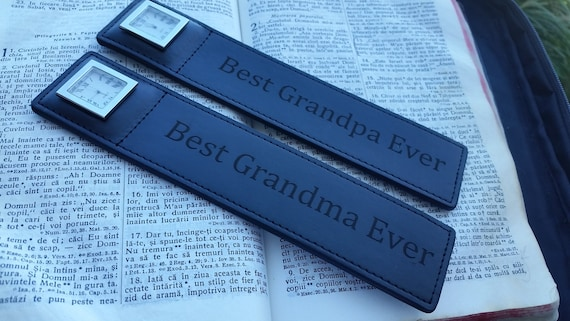 Christmas Gifts For Grandparents, Engraved Leather Bookmark With Watch