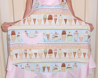 Apron - Ice Cream, Sundaes Fabric Full Length Apron Unique Mother's Day Gift