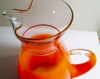 West Virginia Glass - Blendo Tall Orange Pitcher