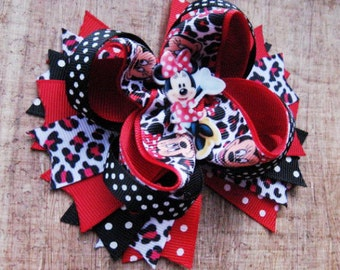 Stacked bow Minnie Mouse hair clip bow Girls ribbon bow Disney characters Alligator clip bow Birthday gift Disney princess accessories Kids