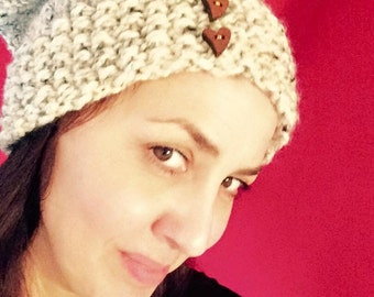 Hand knitted, super chunky slouchy hat.