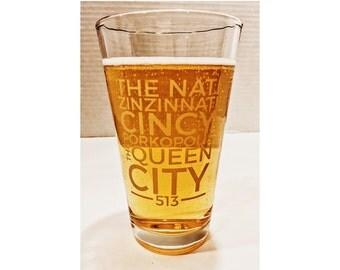 Cincinnati Theme 16 oz Pint Glass