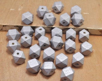50pcs Silver Wood Beads,Polygonal 15mm Hand painted Beads, Make jewellery for selling,14 Hedron Geometric Natural Wood Beads.