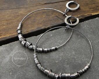 100% Ag - earrings, raw sterling silver hoop earrings