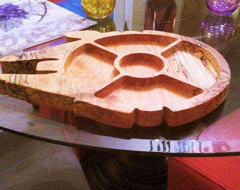 Millennium Falcon Serving Tray, Wooden Serving Tray, Star Wars Serving Tray, Chips & Dip Tray, Veggies Tray, Housewarming, Wedding