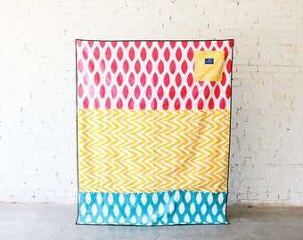 Large Waterproof Picnic Blanket |  Play Mat | Boho Blanket  |  Sherbet (Pink, Yellow, and Aqua)