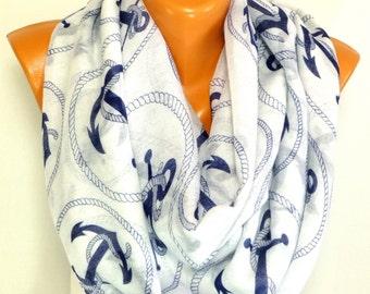 Scarf, infinity scarf, Anchor Scarf, Sailor Scarf, Anchor Printed Shawls, Scarves, Women Fashion Accessories, Lightweight Summer Scarf