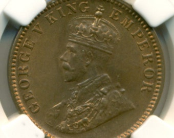 India 1935 (C) 1/4 Anna MS64 RB NGC