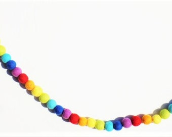 Rainbow garland - bunting- billy ball garland - felt ball garland