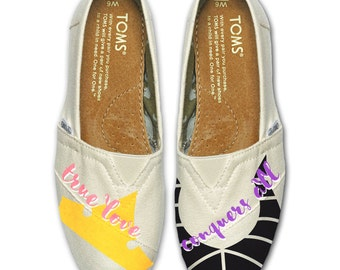 Custom Painted Sleeping Beauty TOMS Shoes FREE SHIPPING- Arora- Malificent - Princess - Minimalist Design - Gift - Canvas- Hand Painted