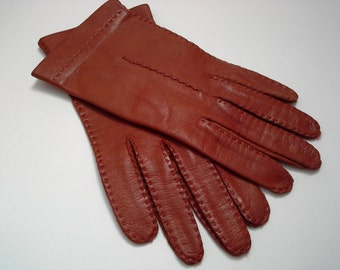 Vintage Leather Gloves, Ladies Leather Gloves, Ladies Vintage Gloves, Rust Leather Gloves, Vintage Womens Gloves, Small Leather Gloves