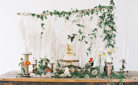Macrame wedding backdrop, macrame photo backdrop, macrame decor, boho decor, bohemian wedding, rustic wedding, fairytale wedding