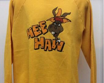 Rare Vtg 80s Hee Haw Sweatshirt L Raglan Yellow Jerzees 50/50 Country Music Comedy TV Show
