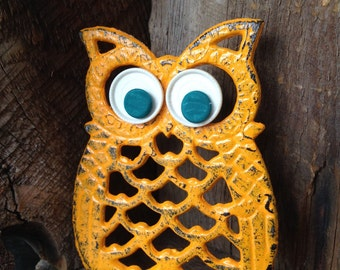 Vintage Owl Trivet, Hand Painted Owl Trivet with Vintage Button Eyes, Orange Owl