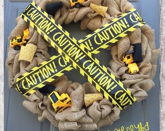 Bulldozer/Machinery/Caution Burlap Wreath