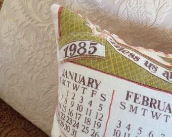 Vintage 1985 Calendar Decorative Pillow