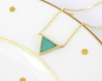 Dainty Necklace, Mint Stone and Light Gold Triangle Pendent Necklace, Tiny Pendent Necklace, Bridesmaid Gift, Birthday Gift