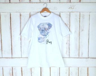 90s white Pug dog graphic tee/dog/doggie/puppy printed tshirt/white graphic tee