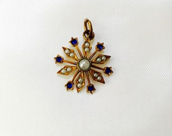 Vintage Starburst Seed Pearl Gold Plated Pendant.