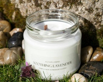 Eco Soy Candle Soothing Lavender Candle 2 Wood Wick Extra Large 380ml Candle Tuur & Mor