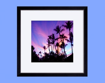 framed matted paper print, wall art, wall decor, art print, home decor, ready to hang, sunset sky, tropical, palm trees, pink, maui, hawaii