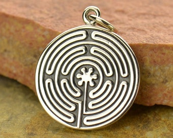 Sterling Silver, Labyrinth Pendant, Labyrinth Charm, Maze Pendant, Maze Charm, Silver Labyrinth, Silver Maze, Mythical Charm, Mythical