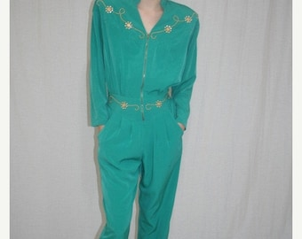 Labor Day Sale Vintage 80s Green ZIP Front Studded Rio Hippie Boho JUMPSUIT Romper Onsie S M