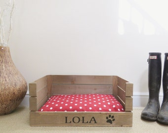 Personalised Wooden Pet Bed Dog Cat Bed Apple Crate Handmade Shabby Chic Small Pet Bed, Free Delivery Uk