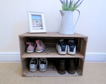 Shabby chic wooden shoe rack with EXTRA DEPTH, Rustic, Handmade, Vintage Style, Shoe Rack, Apple Crate