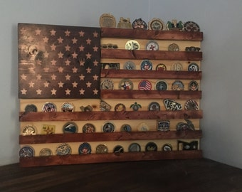 Stained wood American flag Military challenge coin display rack (shelf) patriotic, Americana, Stars and Stripes, Navy, Marine Corps, Army
