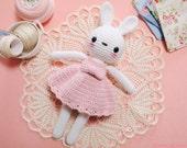 Snow White Bunny - Light Pink Dress ( amigurumi / crochet doll / crochet toy / stuffed bunny )