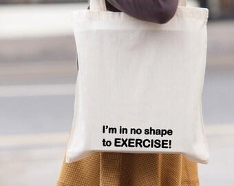 Exercise Gym - canvas tote shopping bag - shoulder bag - beach tote - canvas tote bag -  Market Bag