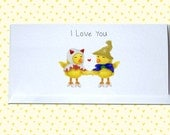 Final Fantasy Valentine's / Anniversary / I Love You - White Mage and Black Mage Chocobo Greetings Card featured image