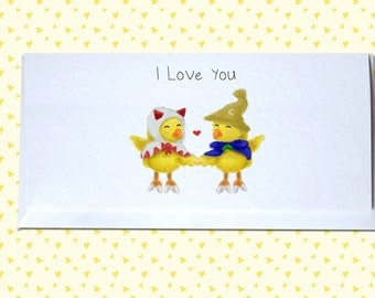 Final Fantasy Birthday / Valentine's / Anniversary / I Love You - White Mage and Black Mage Chocobo Greetings Card