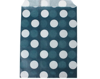 20 Candy bags wedding, popcorn bags, blue and white polka dot favor bags, gift bags, cookie bags, goodie bags, party supplies, wedding bags