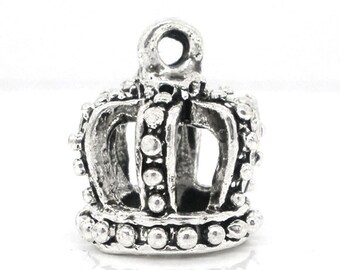 10 3D Crown charms, Princess Crown Charms, Silver Charms, Jewelry Making Supplies, Bracelet Charms, 7953, 708