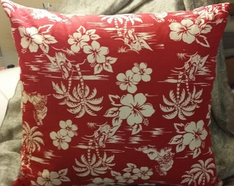 Zippered Pillow Cover - Hawaiian print - red and white