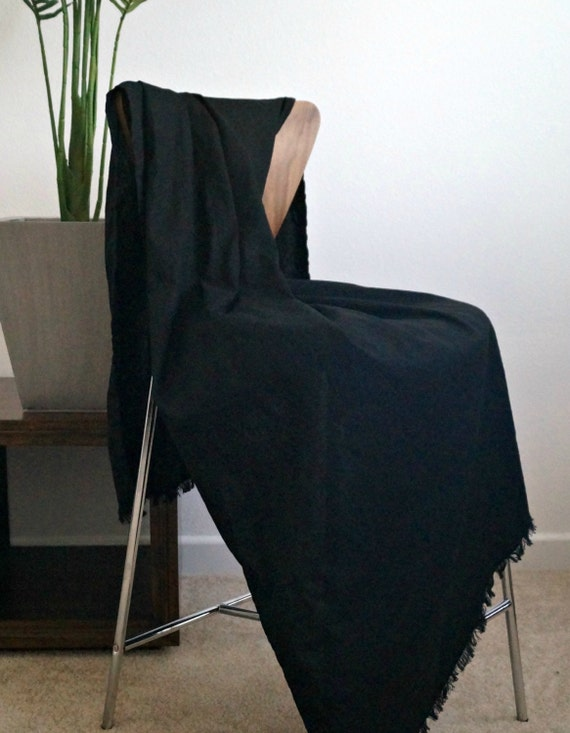 clearance sale black linen throw blanket 72x42 by theprolifichive. Black Bedroom Furniture Sets. Home Design Ideas