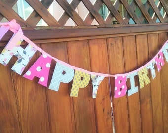 Girls Happy Birthday Owl Themed Bunting Fabric Banner