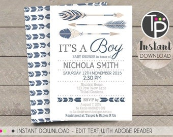 TRIBAL ARROW Baby Shower  Invitation, Instant Download ARROW Baby Shower Invitation, Arrow Boy Baby Shower,Edit yourself with Adobe Reader