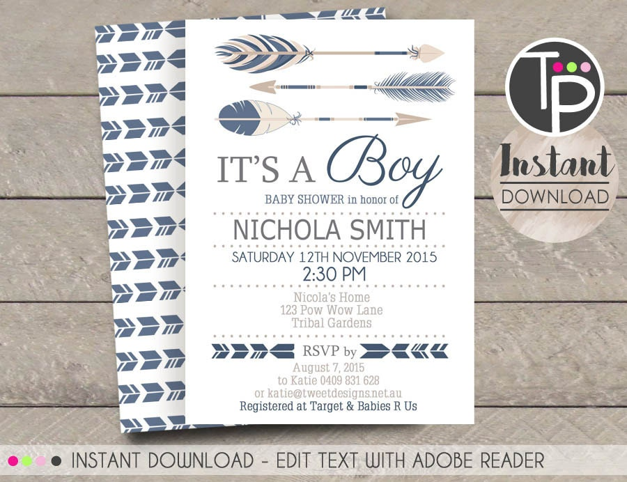 tribal arrow baby shower invitation instant download arrow, Baby shower invitations