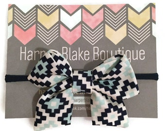 Navy & Aqua Ikat Tailed Fabric Bow
