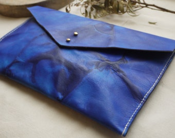 Blue leather tie dye clutch bag, something blue, ipad case, tablet holder.  Colour variations available.  Made in UK