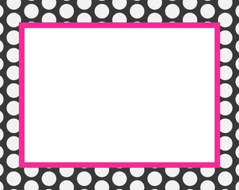 Navy and Pink Polkadot Note Cards