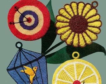 ALMOST FREE Instant PDF Download Vintage Crochet Pattern Booklet Pot Holders 16 pages of Novelty Vintage Patterns