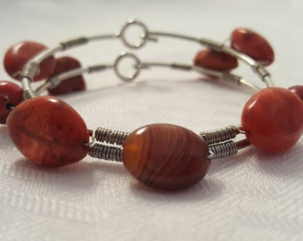 Red Stone Bangle - Women's Bangle - Bangle - Red Bangle - Women's Bracelet - Wire Wrap Bangle - Bangle Set - Women's Jewelry - Red Stone set