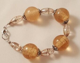 Peach Glass Bead Bracelet - Fall Bracelet - Chunky Bracelet - Women's Bracelet - Women's Chunky Bracelet - Glass Bead Bracelet - Glass Bead