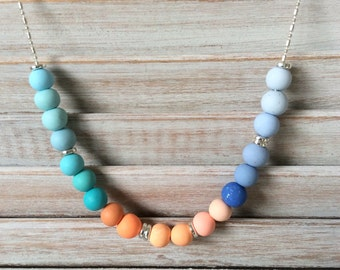 New Petites - shades of blue, orange and teal polymer clay necklace, beaded necklace handmade by rubybluejewels