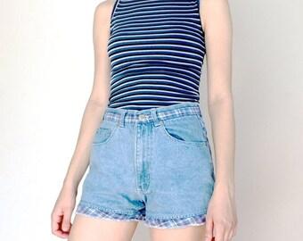 SALE 90s Blue Plaid and Denim High Waisted Jean Shorts