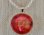 I Love You #2 - watercolor pendant necklace - OOAK